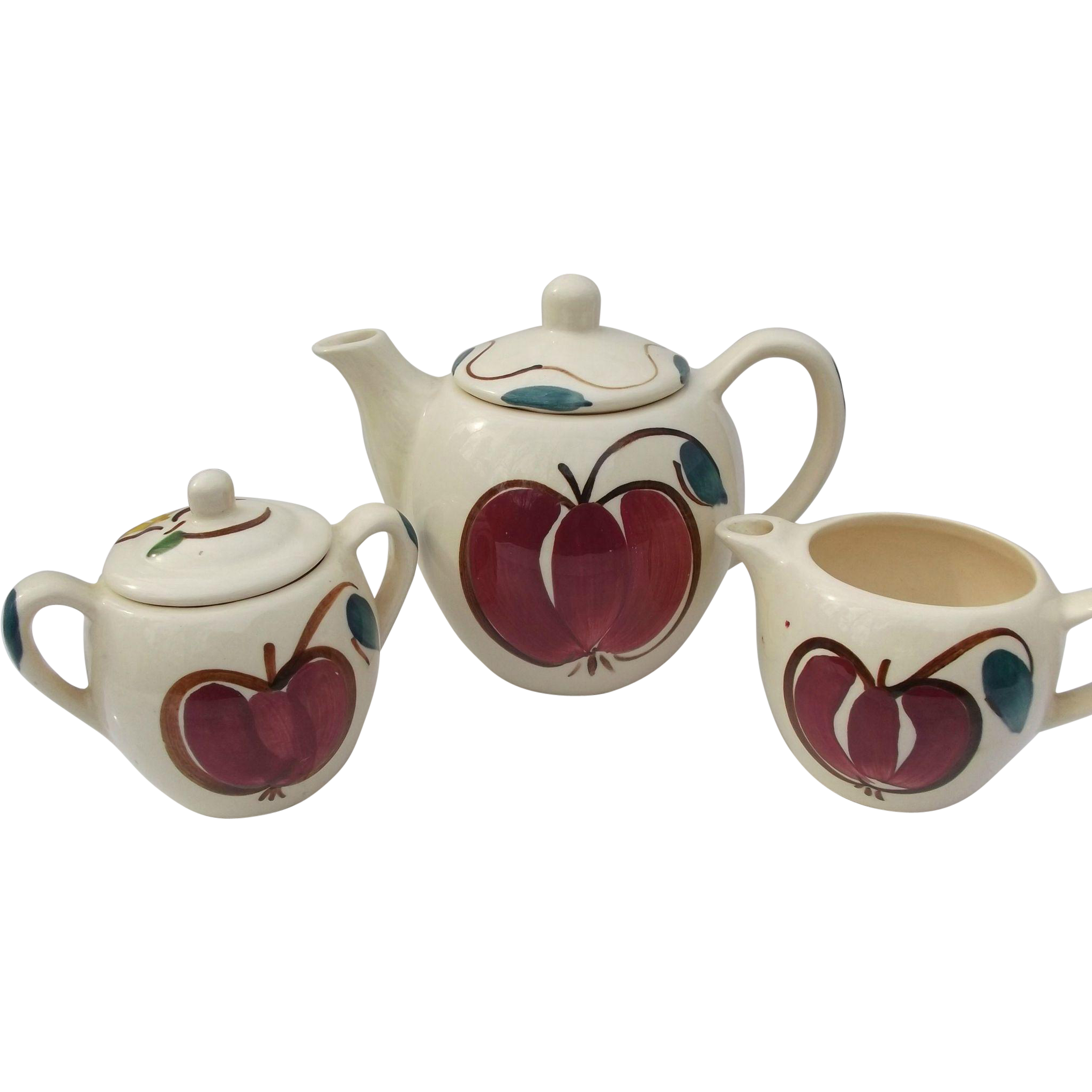 Purinton Pottery Vintage Apple Pear Teapot Sugar Creamer