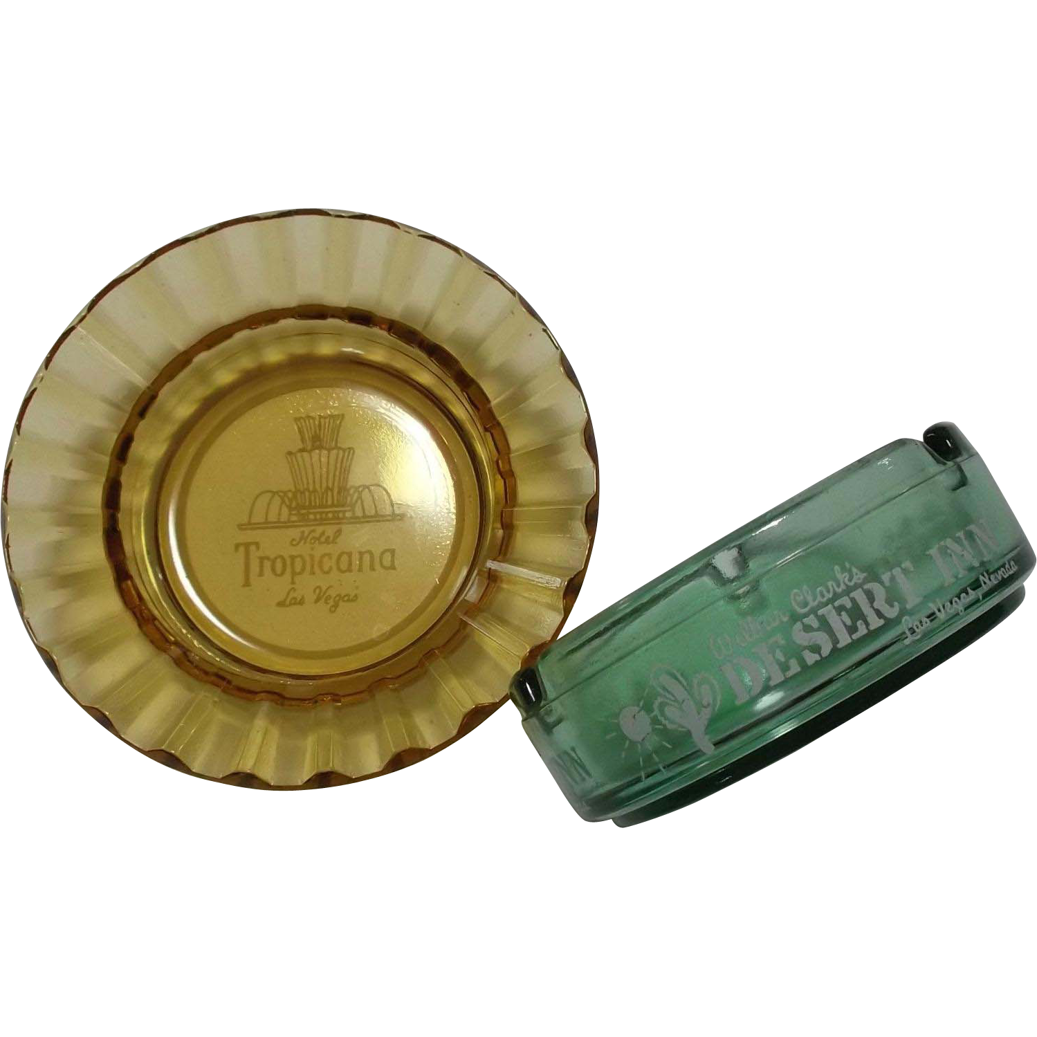 Two Vintage Depression Glass Ashtrays Hotel Tropicana Desert Inn Las Vegas