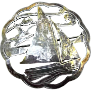 Sterling Brooch Pin Vintage Arts Crafts Sailboat Seagulls Stavre Gregor Panis