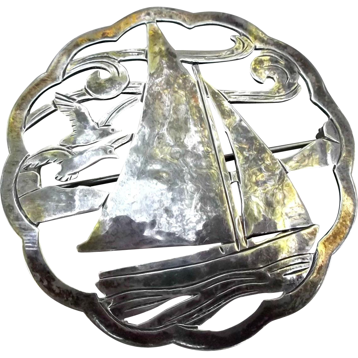 Stavre Gregor Panis Sterling Brooch Pin Vintage Arts Crafts Sailboat Seagulls