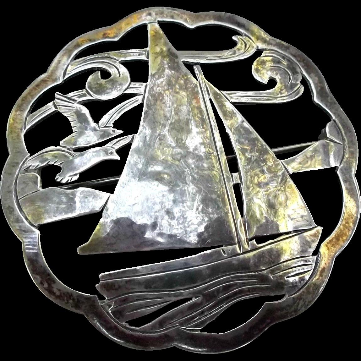 Sterling Brooch Pin Vintage Arts Crafts Sailboat Seagulls Stavre Gregor Panis