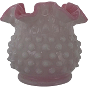 Vintage Fenton Peach Blow Hobnail Vase Pre Logo Crimped Edge