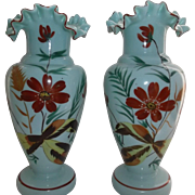 Victorian Bristol Glass Vases Hand Painted Green Blue Crimped Edge