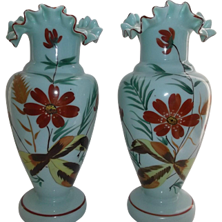 Victorian Bristol Glass Vases Pair Hand Painted Green Blue Crimped Ruffled Edge