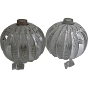 Pair Clear Carved Glass Vintage Cologne Perfume Bottles Squat Bulbous Pumpkin Style