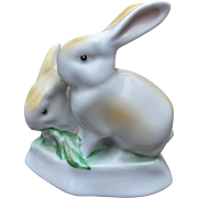 Vintage Hungary Porcelain Bunny Rabbits Figurine Hand Painted