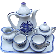 Vintage Miniature Tea Set Blue White Flowers China Dolls Bears