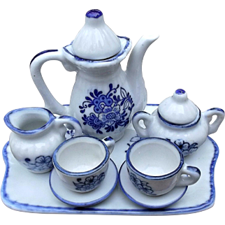 Vintage Small Tea Set Blue White Flowers China Dolls Bears