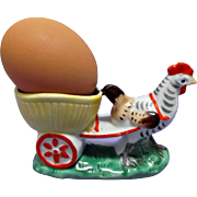 Hand Painted Vintage Eggcup Rooster Pulling Cart Match Holder Candy