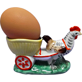 Hand Painted Rooster Figurine Pulling Cart Eggcup Match Holder Candy