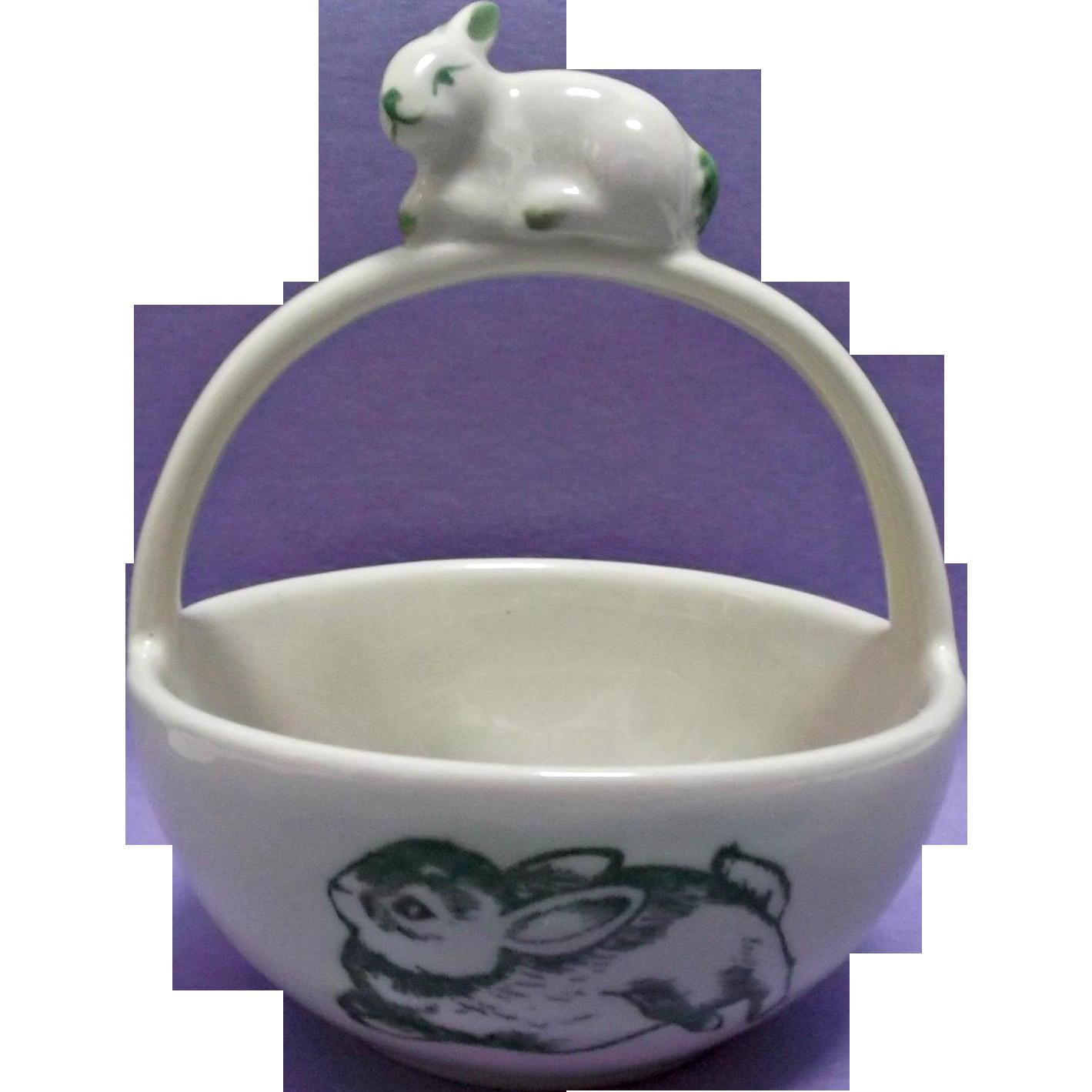 Andrea by Sadek Bunny Toile Basket Ceramic China Easter