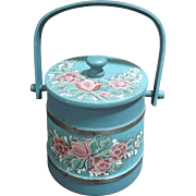 Small Vintage Wooden Firkin Hand Painted Sugar Bucket 1987