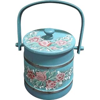 Small Vintage Wooden Firkin Hand Painted Wooden Bucket Pink Flowers 1987