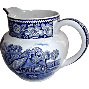 Rural England Creamer by W.R. Midwinter LTD Blue White Transfer