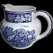 Rural England Creamer by W.R. Midwinter LTD Blue White Transfer