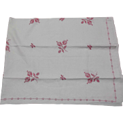 Large Vintage Pure Linen Tablecloth with Hand Embroidered Pink Flowers