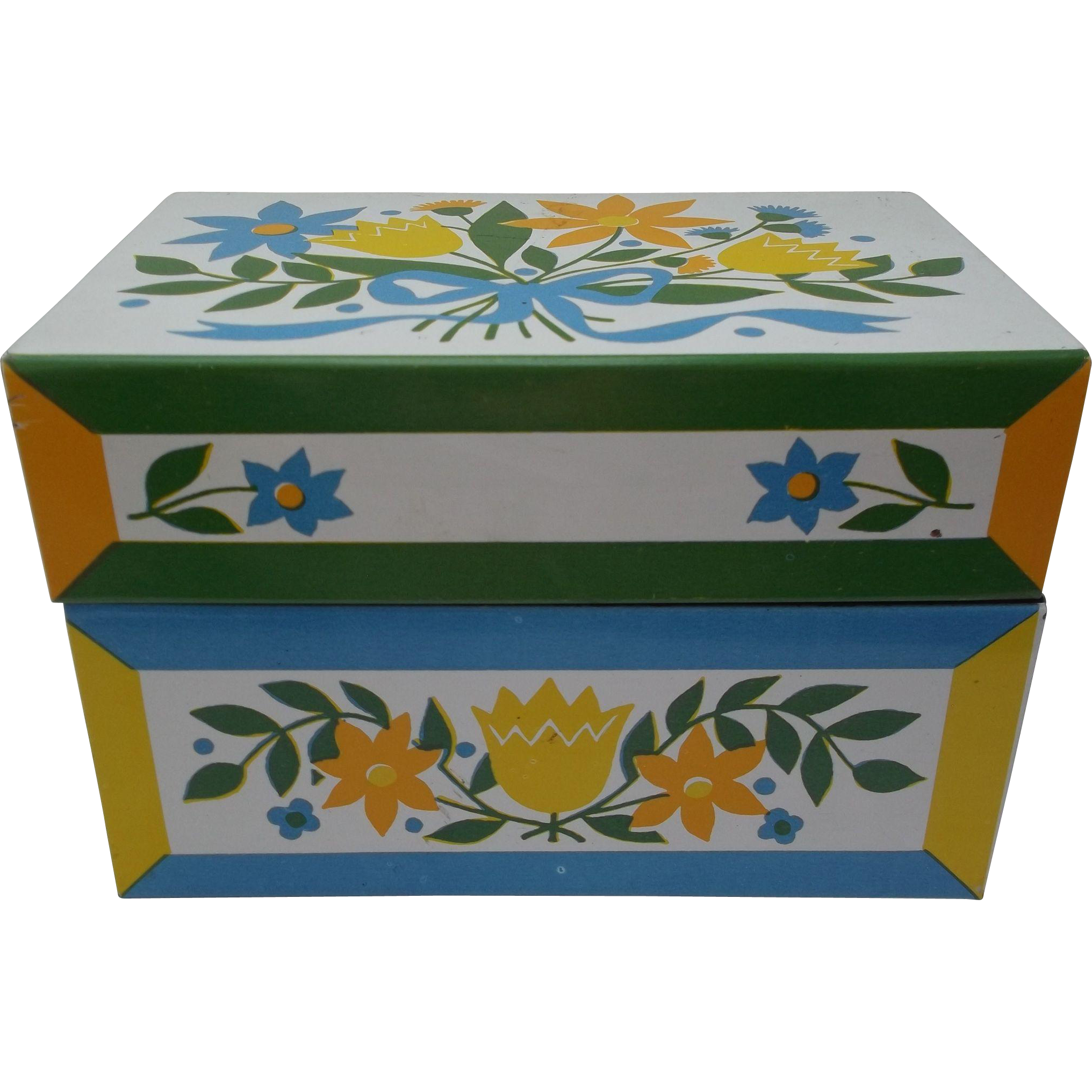Metal Floral Vintage Recipe Box Blue Yellow Gold Ribbon