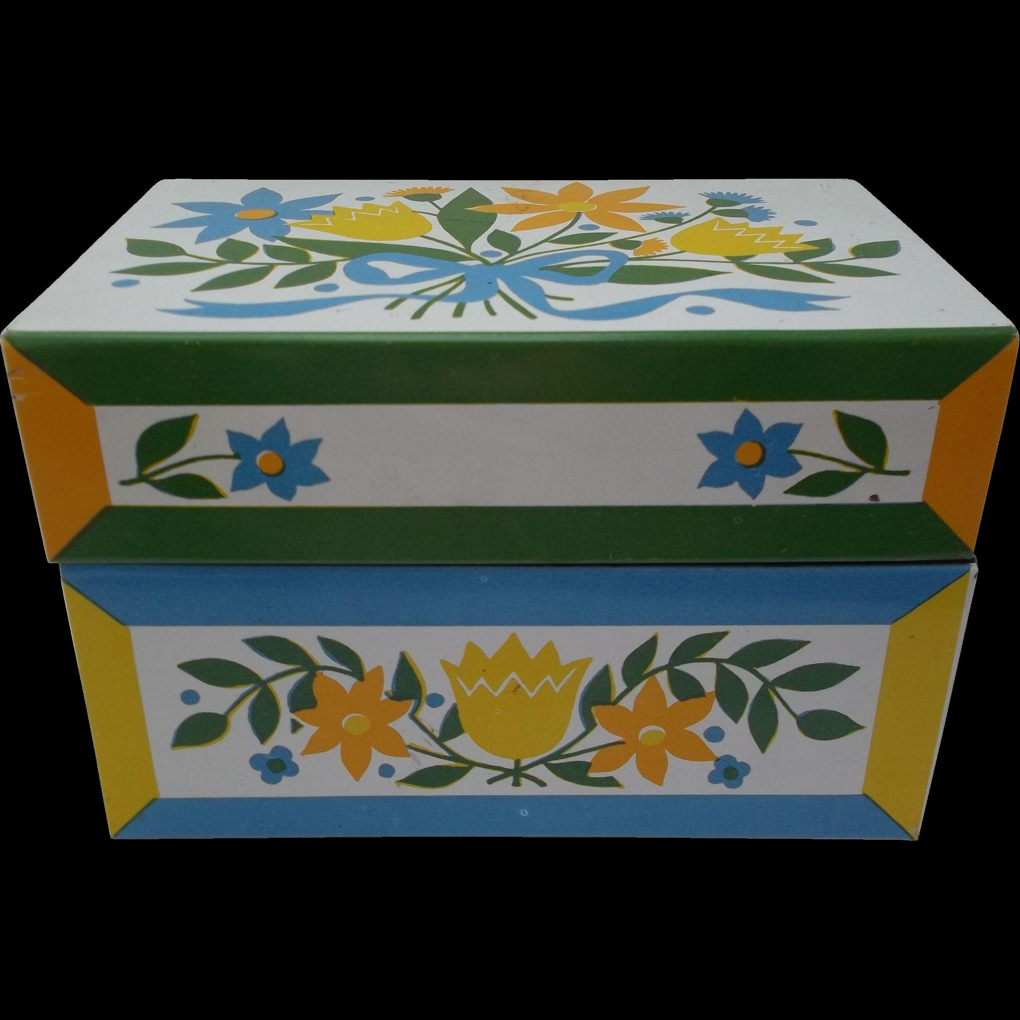 Vintage Metal Floral Recipe Box Blue Yellow Gold Ribbon