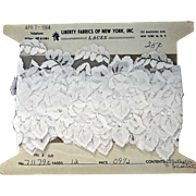 White Vintage Lace Flowers Six Yards on Original Card Dolls Dressmaking
