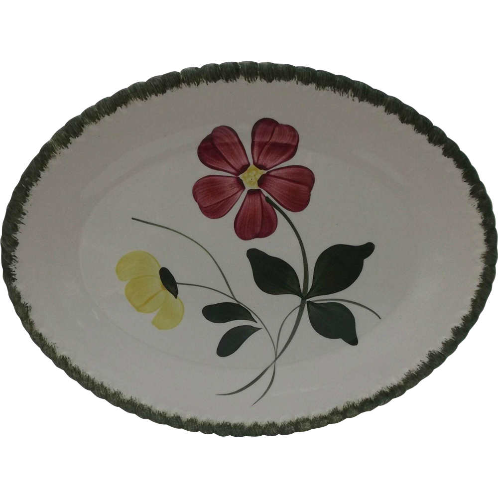 Blue Ridge Dinnerware Vintage Oval Platter Betty Red Yellow Flowers Southern Pottery