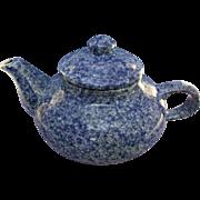 Old Blue Spongeware Teapot Pottery Stoneware