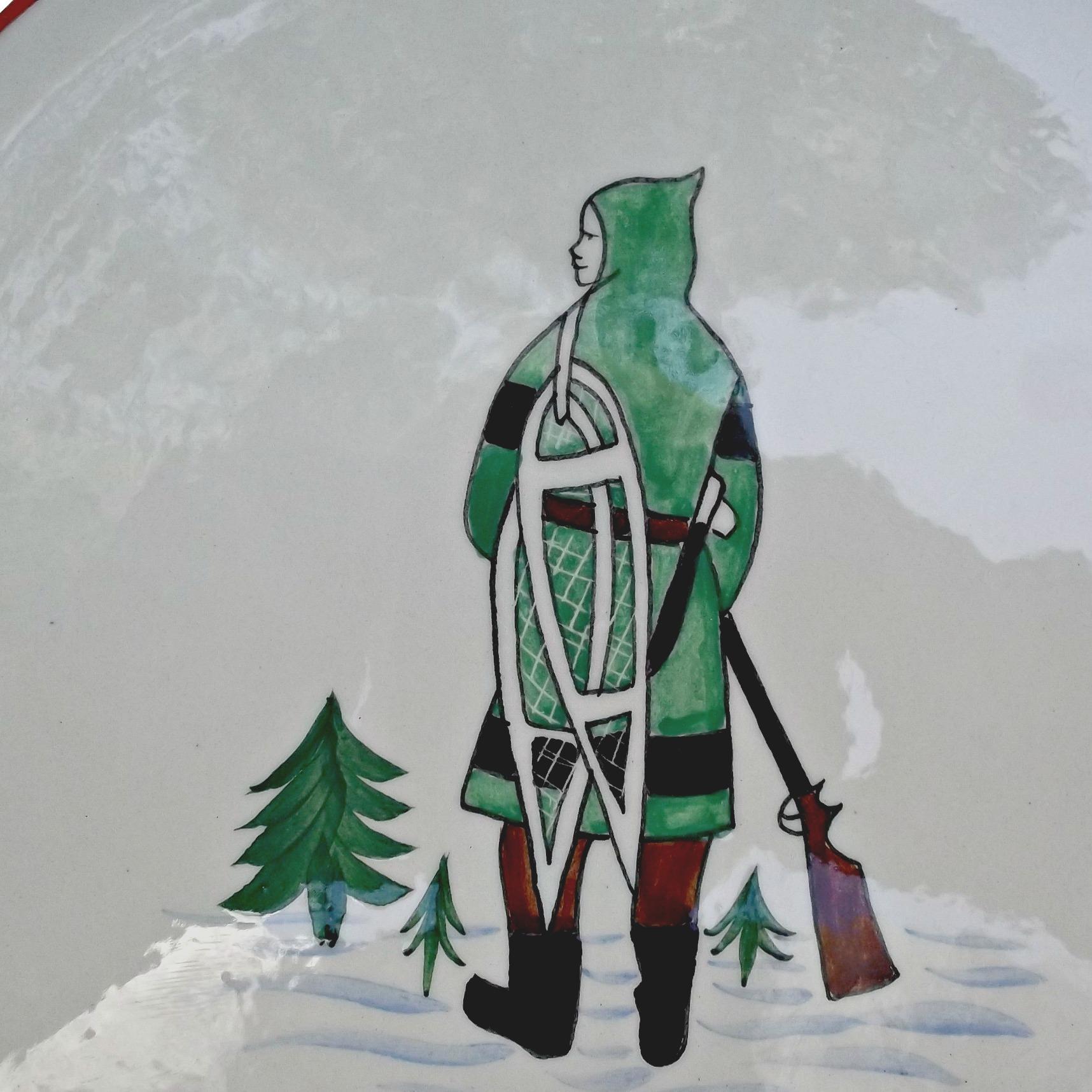 Henriot Quimper Vintage Plate Inuit Eskimo Trapper Hunter Man Ogilvy's