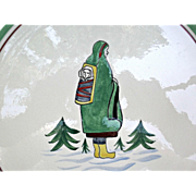 Henriot Quimper Vintage Plate Eskimo Inuit Woman with Papoose Baby