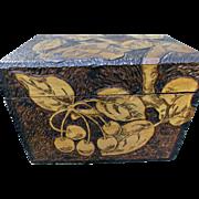 Flemish Art Pyrography Vintage Wood Box Cherries Documents Collars Hat