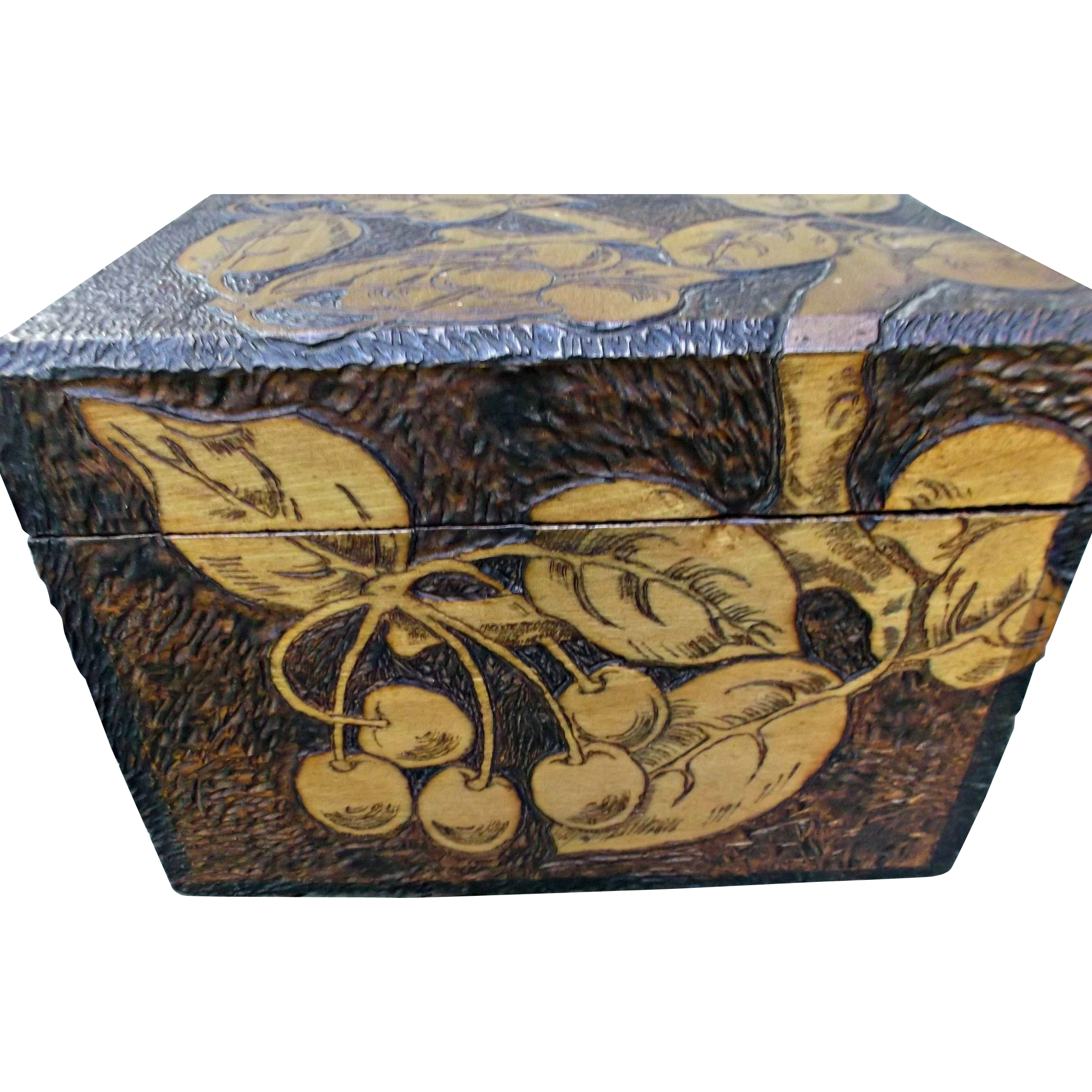 Flemish Art Pyrography Vintage Wood Box Cherries Documents Collars Hat