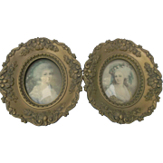 Pair Vintage Cameo Creations Framed Victorian Ladies Prints