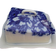 Royal Winton 1967 Grimwades Flow Blue Transferware Cheese Butter Dish