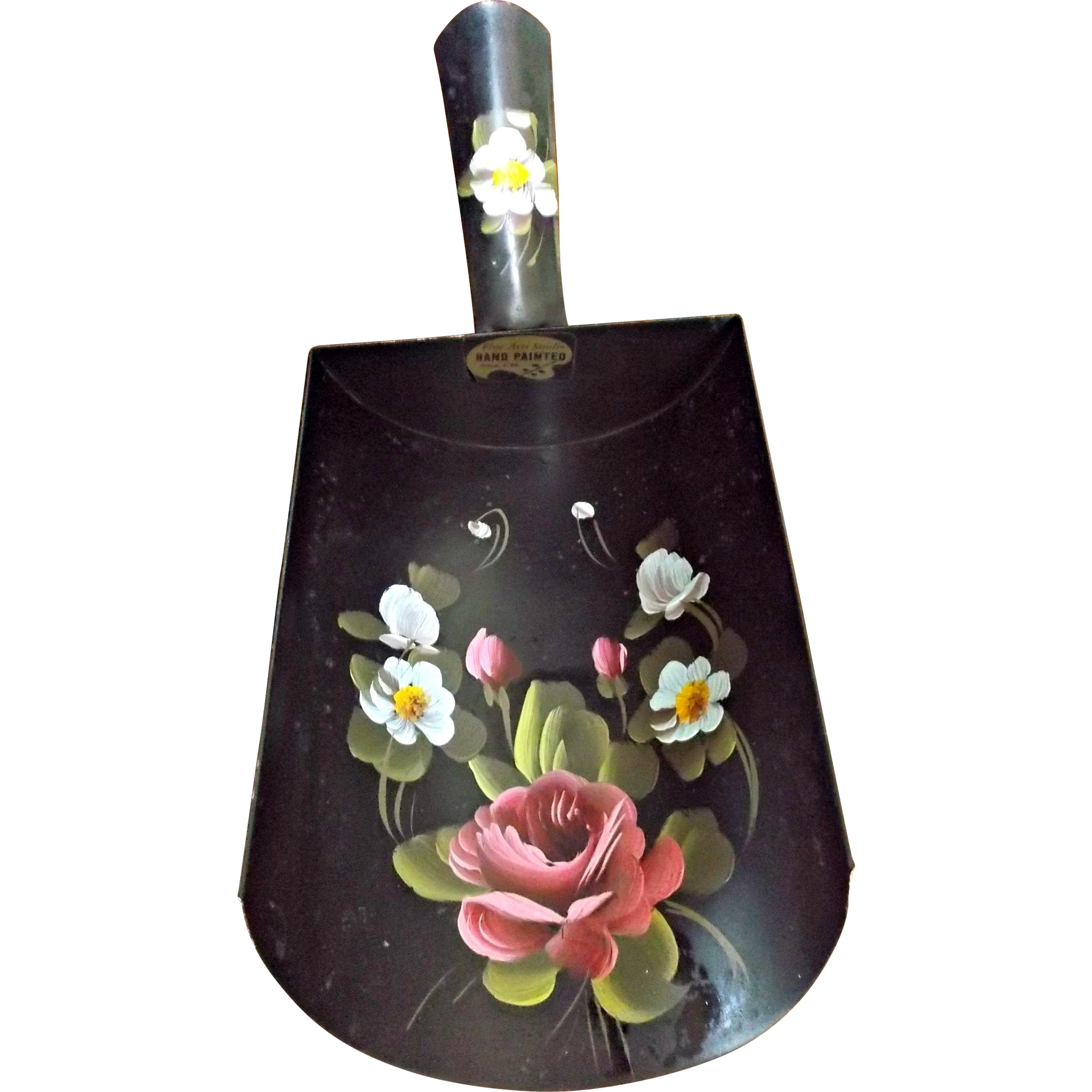 Hand Painted Tole Vintage Coal Scuttle Shovel Pink Rose Blue Flowers