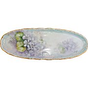 Hand Painted Signed Porcelain Blank Pin Tray with Violets Vintage Vanity