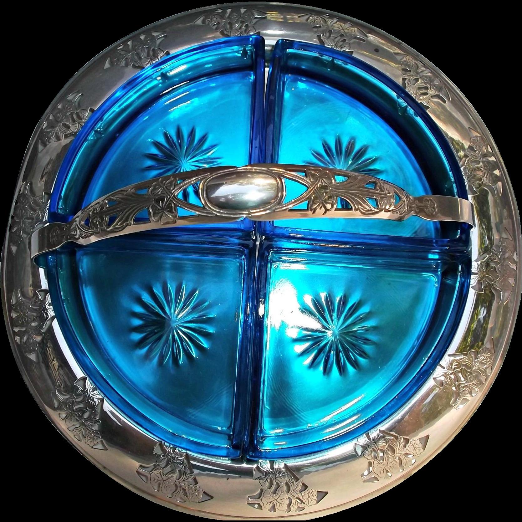 Farberware Chrome Divided Blue Glass Vintage Condiment Tidbit Tray