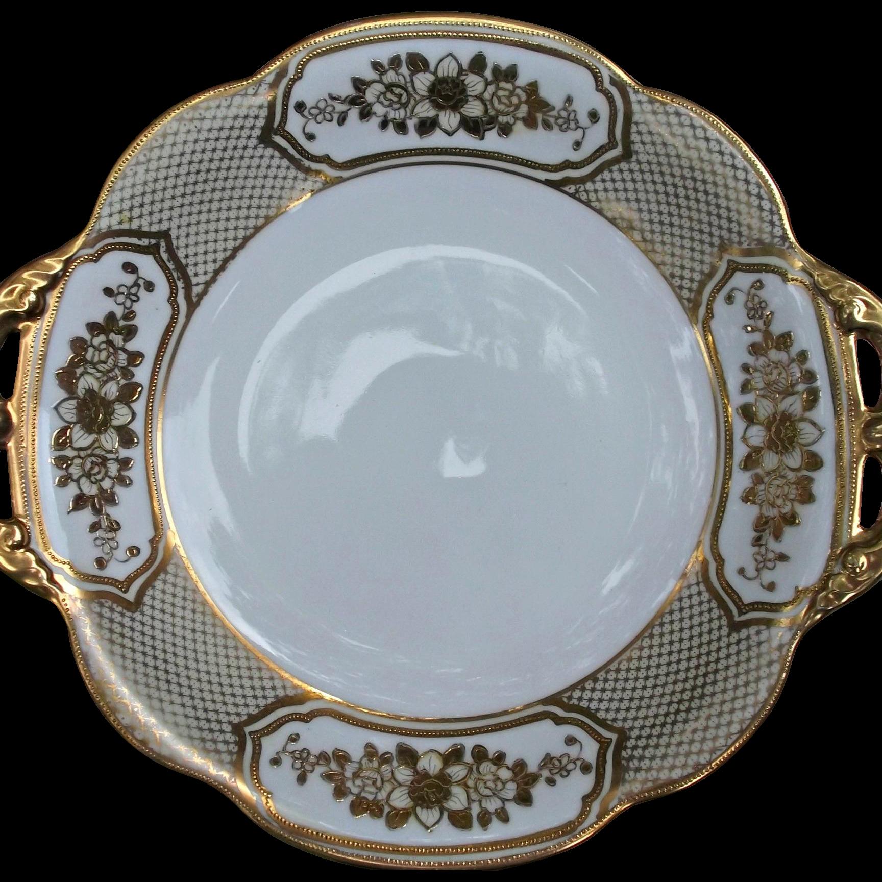 Noritake Porcelain Handled Serving Bowl Gold Gilt Flowers Beads Vintage