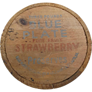 Small Vintage Wooden Bucket Advertising Blue Plate Strawberry Preserves