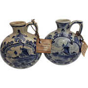 Delfts Blauw Vintage Pair Liqueur Jugs Pottery Flowers Windmill Sailboats