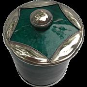 Vintage SAFI Moroccan Pottery Jar Applied Silver Star Green Malachite
