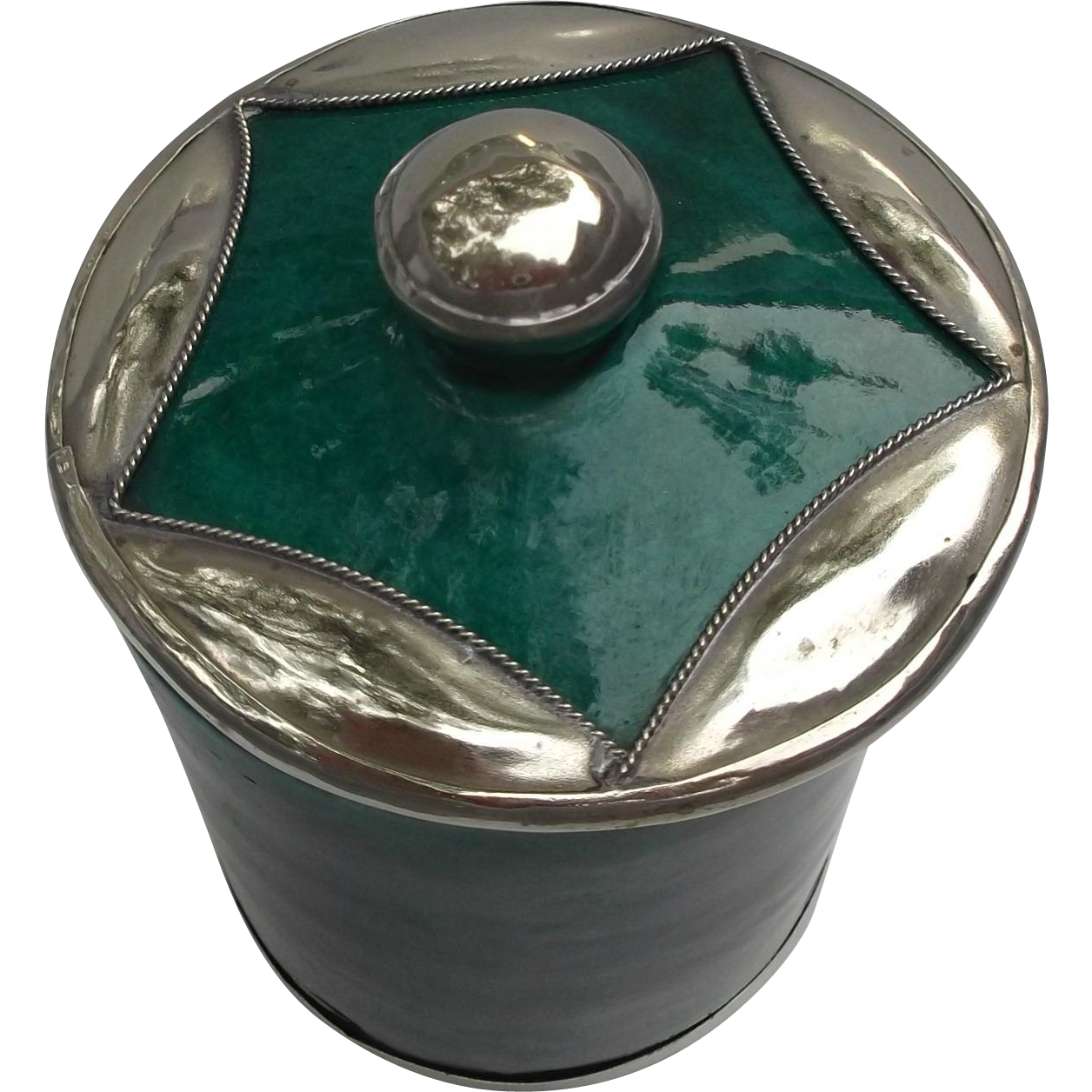SAFI Moroccan Pottery Vintage Jar Applied Silver Star Green Malachite Color
