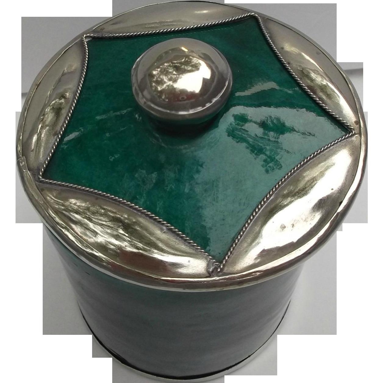 SAFI Moroccan Pottery Vintage Jar Applied Silver Star Green Malachite Color