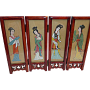 Vintage Small Asian Tabletop Folding Screen Geisha Girls Birds Flowers Dolls