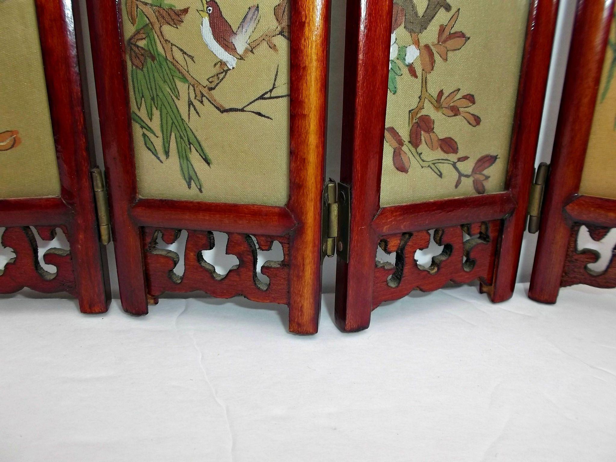 Vintage Small Asian Tabletop Folding Screen Geisha Girls