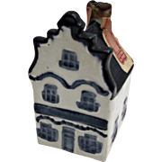 Rynbende Distilleries Holland Blue White House Shaped Vintage Bottle
