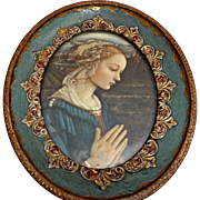 Italian Florentine Framed Madonna Girl Praying Gold Gilt Gesso