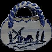 Delft Blue White Vintage Porcelain Basket Planter House Windmill Trees
