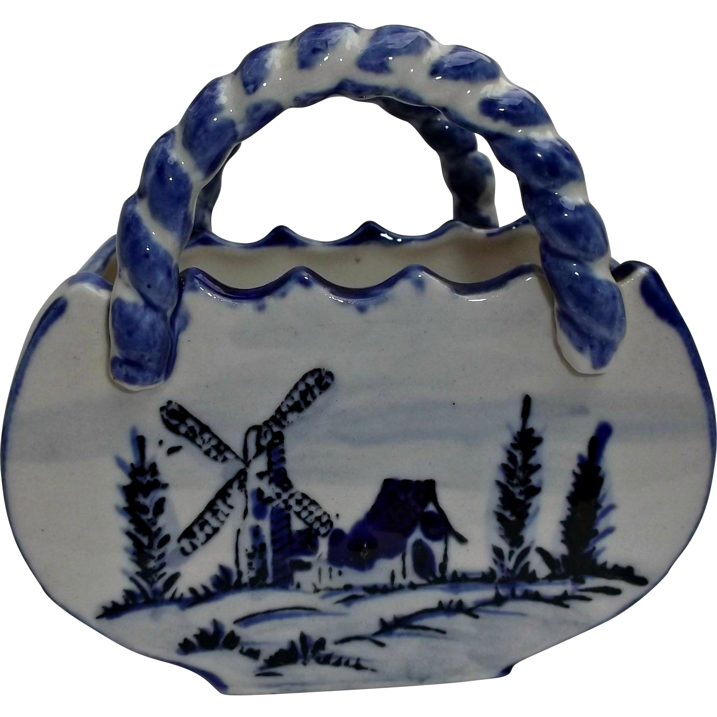 Delft Blue White Porcelain Basket Vintage Planter House Windmill Trees