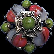 Vintage Miracle Pin Brooch Silvertone Metal  Maltese Cross Green Pink Stones
