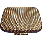 Revlon Vintage Gold Tone Metal Compact Mirror Powder Puff