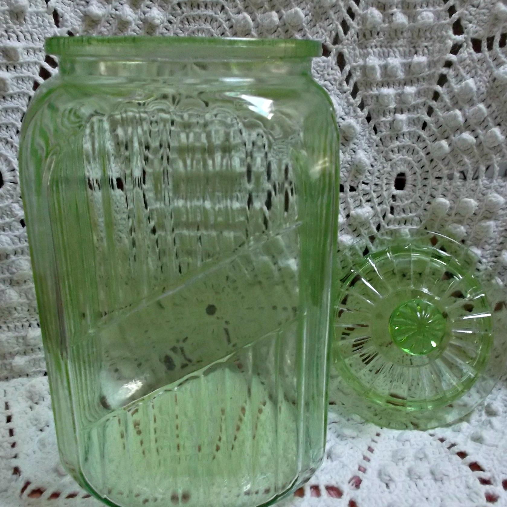 hocking transparent green canister with glass lid vintage kitchen roll over large image to magnify click large image to zoom