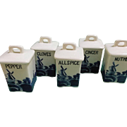 Vintage Delft Blue Spice Canisters Set of Five Czechoslovakia Windmills House Trees
